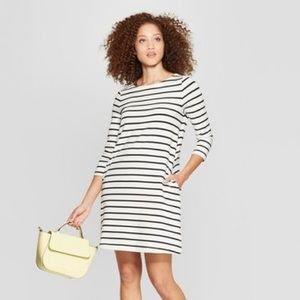 A New Day Casual Fit 3/4 Sleeve Striped Knit Dress